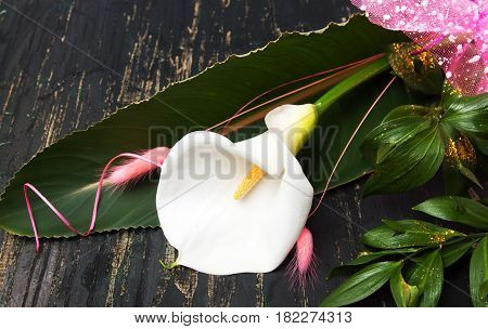 Calla Lily Flower Bouquet On A Table