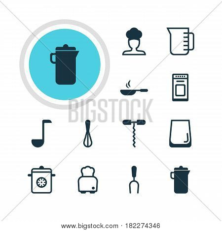 Vector Illustration Of 12 Cooking Icons. Editable Pack Of Carafe, Oven, Wine Opener And Other Elements.