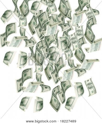 Dollar banknotes falling to the ground
