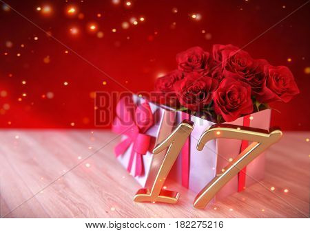 birthday concept with red roses in gift on wooden desk. 3D render - seventeenth birthday. 17th
