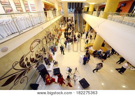 MOSCOW - OCT 25, 2016: Perform in hall in Diamond hall before ceremony Top 1000 Russian Managers awards in Moscow State Music Theatre of Russian folk song
