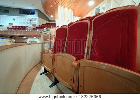 MOSCOW - OCT 25, 2016: Seats in Moscow State Music Theatre of Russian folk song concert hall in Diamond hall business center