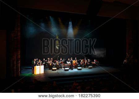 MOSCOW - OCT 25, 2016: Concert during ceremony Top 1000 Russian Managers awards in Moscow State Music Theatre of Russian folk song