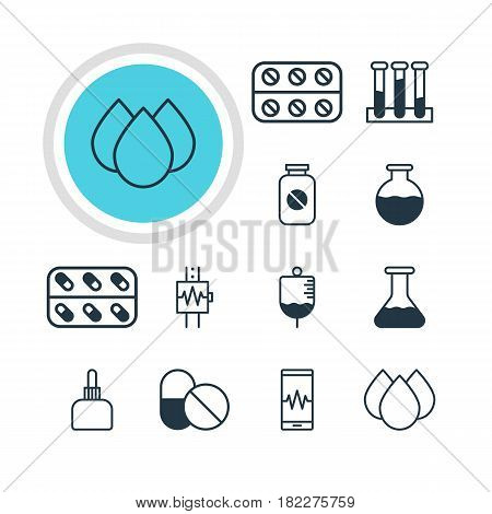 Vector Illustration Of 12 Medicine Icons. Editable Pack Of Flask, Antibody, Aspirin And Other Elements.