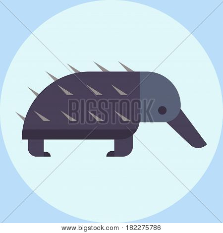 Vector wildlife bristling porcupine illustration for children rodent zoo bristle cute hedgehog and small, spiked young dangerous needle quill. Defense fur animal himalayan character.