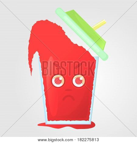 A glass of juice with a lid and a tube. Summer drink. Emotional icon angry dissatisfied boils with anger. Red juice in a cartoon style. Vector illustration isolated on a gray background.