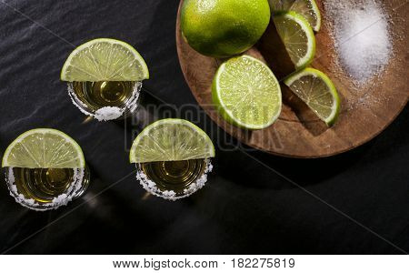 Tequila Shots On Black Background