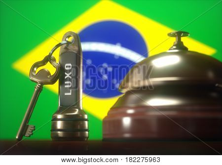 3D illustration. Luxury hotel key and vintage golden bell of the Brazil on the wooden table of the lobby service.