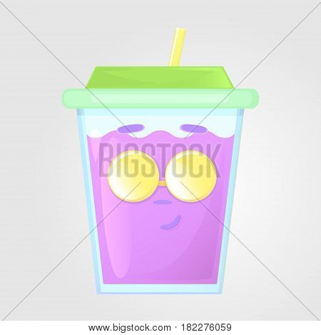 A glass of juice with a lid and a tube. Summer drink. Emotional icon smirk face with round sunglasses. Purple juice in cartoon style. Vector illustration isolated on a gray background.