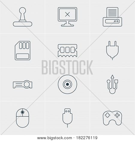 Vector Illustration Of 12 Computer Icons. Editable Pack Of Game Controller, Printer, Gamepad And Other Elements.