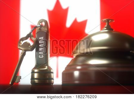 3D illustration. Luxury hotel key and vintage golden bell of the Canada on the wooden table of the lobby service.