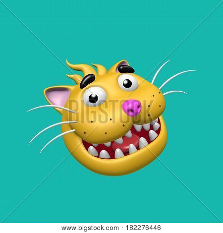 Cartoon smiling cat head. 3D illustration. Funny cool emoticon character. Cheerful pet for web icons and t-shirt.