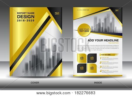 Business Brochure flyer templater Gold cover design annual report Book Magazine ads company Profile layout in A4 size poster catalog leaflet newsletter Advertisement presentation infographics