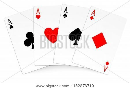 Four aces playing cards poker winner hand. Stock Illustration EPS 10