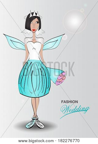 Young woman in a wedding dress. fashion design Angels blue template Vector illustration Just married Vector illustration beauty spa cosmetic flower lover wedding invitation card butterfly