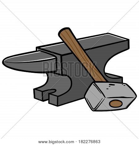 A vector illustration of an Blacksmith Anvil and sledge hammer.