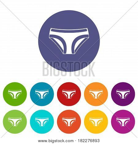 Woman underwear panties icons set in circle isolated flat vector illustration