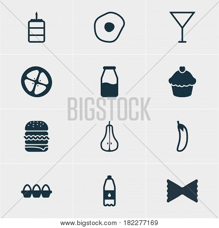 Vector Illustration Of 12 Eating Icons. Editable Pack Of Pastry, Duchess, Muffin And Other Elements.