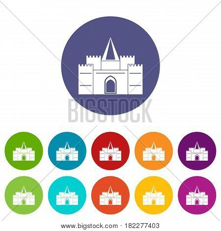 Residential mansion with towers icons set in circle isolated flat vector illustration
