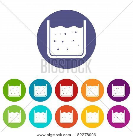 Beaker filled with liquid icons set in circle isolated flat vector illustration