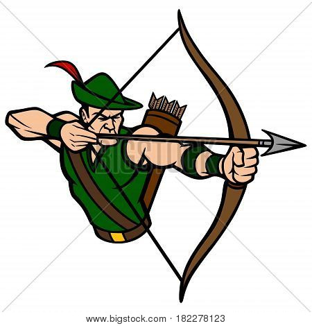 A vector illustration of an Archer taking aim.