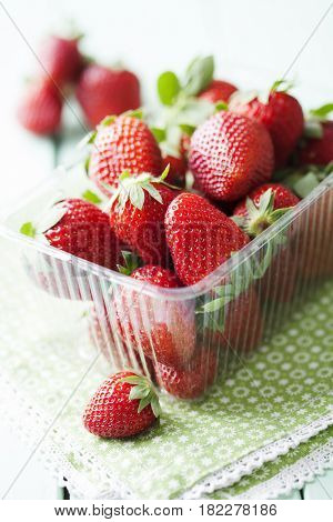 tray with fresh strawberries