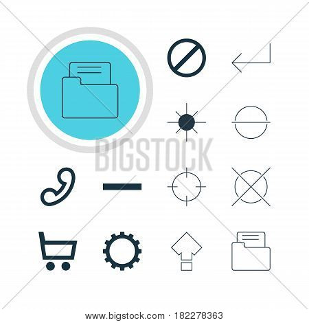 Vector Illustration Of 12 Interface Icons. Editable Pack Of Remove, Access Denied, Cancel And Other Elements.