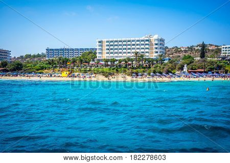 Coastal line of Ayia Napa with beach and hotels. Famagusta District. Cyprus.