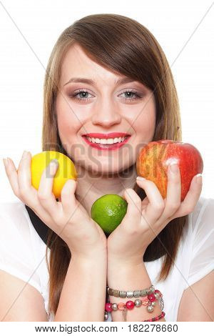Young Smiling Woman With Fruits And Vegetables White Background