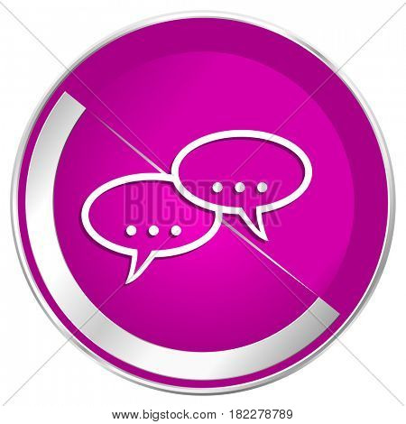 Forum web design violet silver metallic border internet icon.