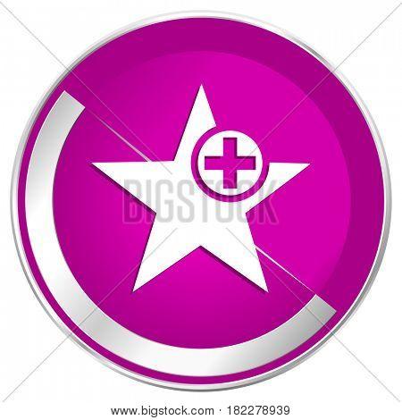 Star web design violet silver metallic border internet icon.