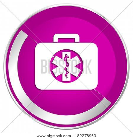 Rescue kit web design violet silver metallic border internet icon.