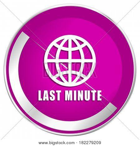 Last minute web design violet silver metallic border internet icon.
