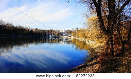 Lake in the park in the spring. Favorite place of Nalchik citizens for walks and rest in the resort area of the city