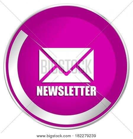 Newsletter web design violet silver metallic border internet icon.