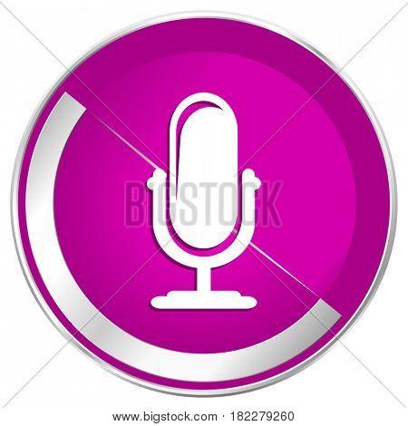 Microphone web design violet silver metallic border internet icon.
