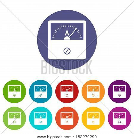 Counter icons set in circle isolated flat vector illustration
