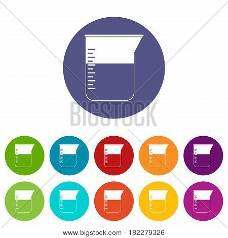 Measuring cup icons set in circle isolated flat vector illustration