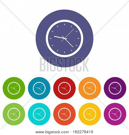 Chronometer icons set in circle isolated flat vector illustration