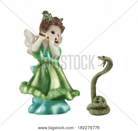 Isolated snake charmer angel girl with pipe and snake toys photo.