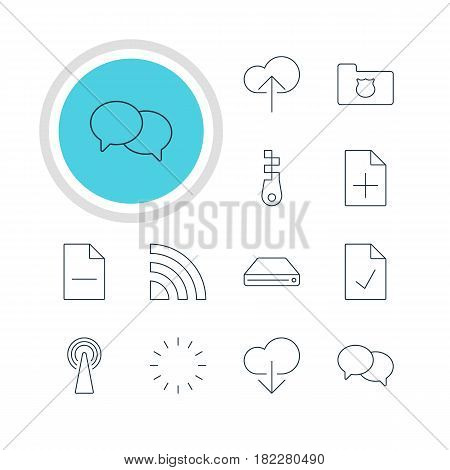 Vector Illustration Of 12 Internet Icons. Editable Pack Of Fastener, Router, Data Upload And Other Elements.