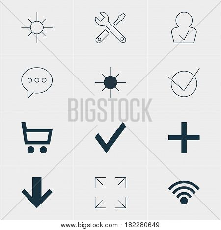 Vector Illustration Of 12 Member Icons. Editable Pack Of Yes, Confirm, Message And Other Elements.