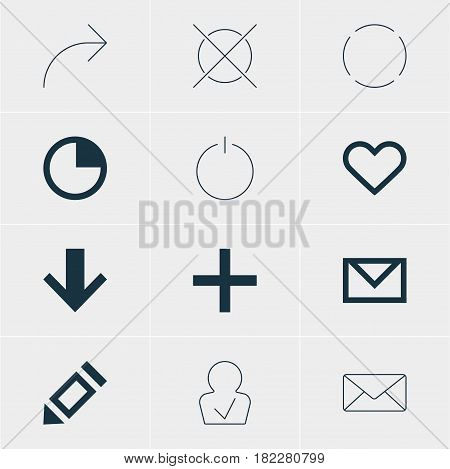 Vector Illustration Of 12 Member Icons. Editable Pack Of Letter, Downward, Stopwatch And Other Elements.