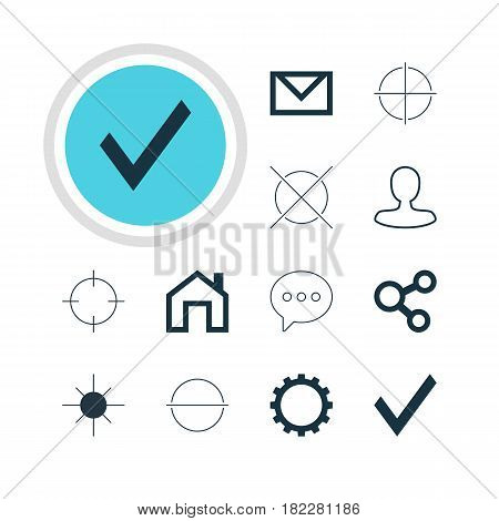 Vector Illustration Of 12 User Icons. Editable Pack Of Letter, Remove, Mainpage And Other Elements.