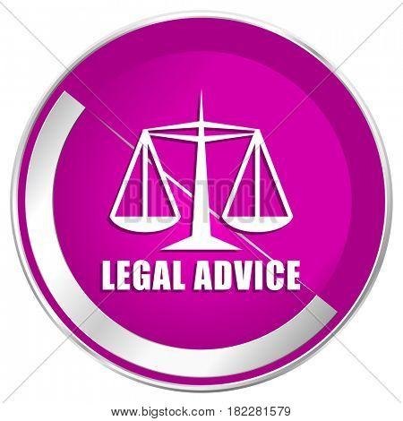 Legal advice web design violet silver metallic border internet icon.
