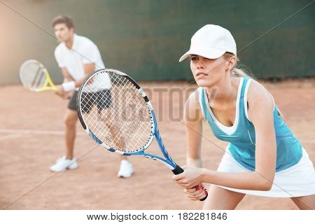 Tennis players on court. playing in tennis