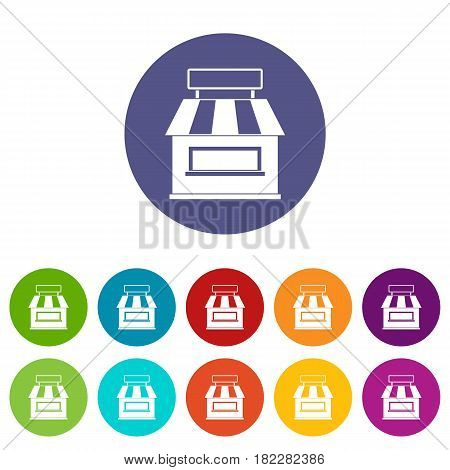 Street stall with awning icons set in circle isolated flat vector illustration
