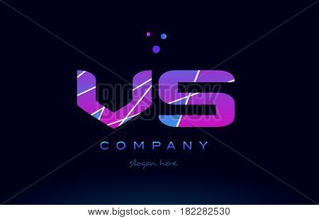 Vs V S  Colored Blue Pink Purple Alphabet Letter Logo Icon Vector