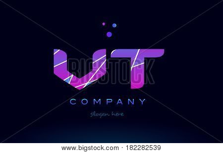 Vt V T  Colored Blue Pink Purple Alphabet Letter Logo Icon Vector
