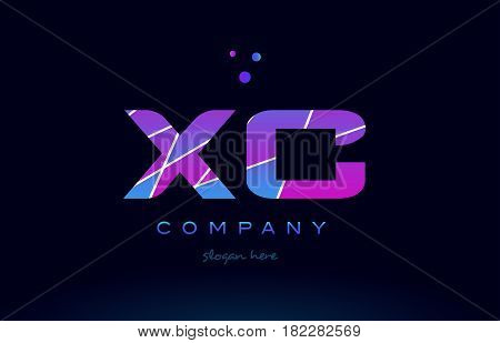 Xc X C  Colored Blue Pink Purple Alphabet Letter Logo Icon Vector